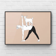 "Load image into Gallery viewer, Yoga Art Print ""Tri-GOAT-Nasana"" - tinkl ILLUSTRATION"