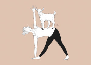 "Yoga Art Print ""Tri-GOAT-Nasana"" - tinkl ILLUSTRATION"