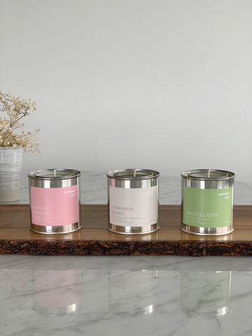 Scented soy candles: matcha latte candle, mango pudding candle, cinnamon bun candle
