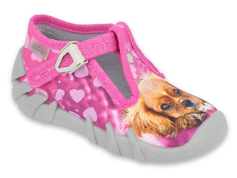 Befado Pink School Slippers with Dog Print | 110P415