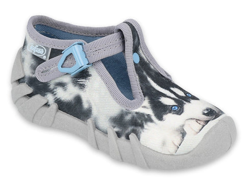 Befado Gray School Slippers with Husky Print | 110P417