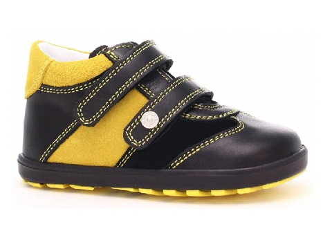 Black - Yellow Leather Sneakers | 11729-0- E89