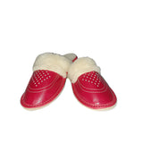 Leather Slippers with Cream Fluffy Cuff | K-235