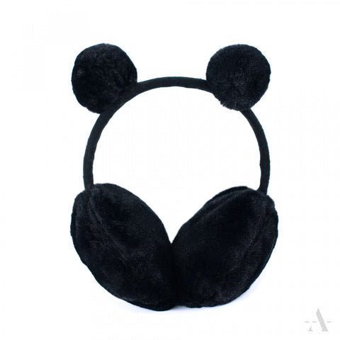 Black Faux Fur Earmuffs with Double Pom-Poms | 19409-Black