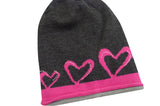 Dark Gray Beanie with Hearts Print | 36/079-DG