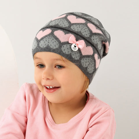 Gray Beanie with Light Pink Hearts Pattern | 38/056-G