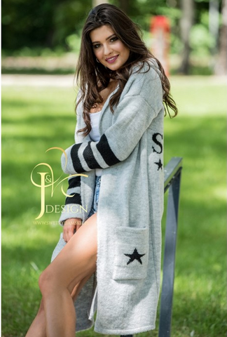 Light Gray Hooded Cardigan | STYLE NEW