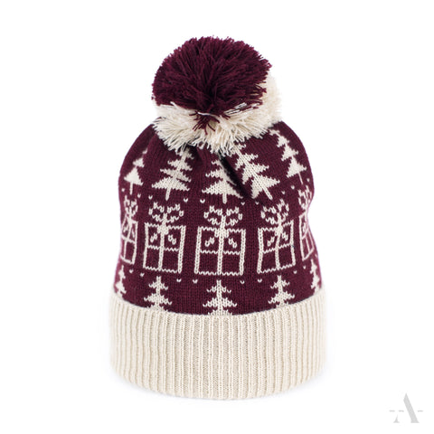 Burgundy - White Winter Pom-Pom Beanie  | 18633-1