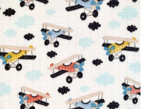 "Planes Pattern Cotton Baby Swaddle ""Pielucha"" 