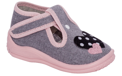 Gray and Pink School Slippers with Embroidered Hearts | BASIA-G