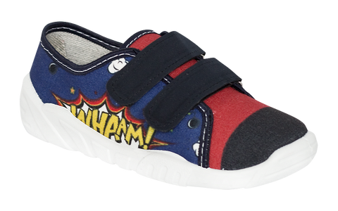 Dark Blue and Red Graphic School Slippers | CEZAR-DB