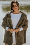 Brown Hooded Cardigan | JENNY