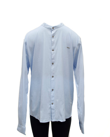 Light Blue Shirt with Stand-up Collar Slim Fit | W-86