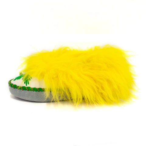 Slippers with Yellow Fluffy Cuff and Green Finish Edges | K-278