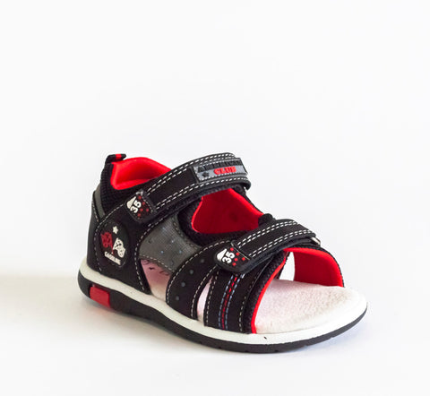 Black and Red Sandals | 407/21-BL