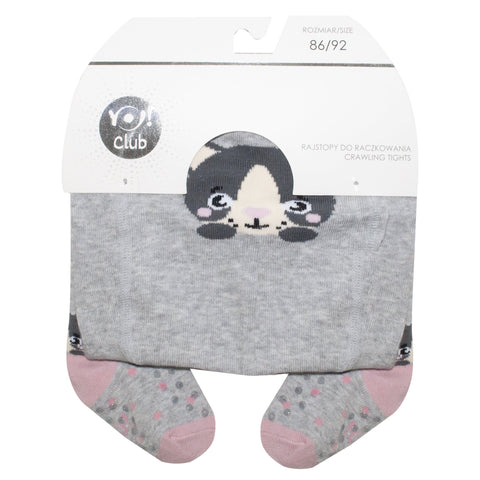 Gray Cat Print Tights with ABS | RA-25-G-3