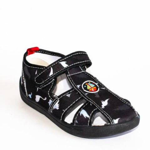 Black School Slippers with Ship Print | 604/21-BL