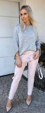 Light Gray Knitted Sweater | SYLVIA