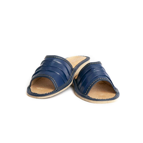 Dark Blue Open Toe Leather Slippers | K-226