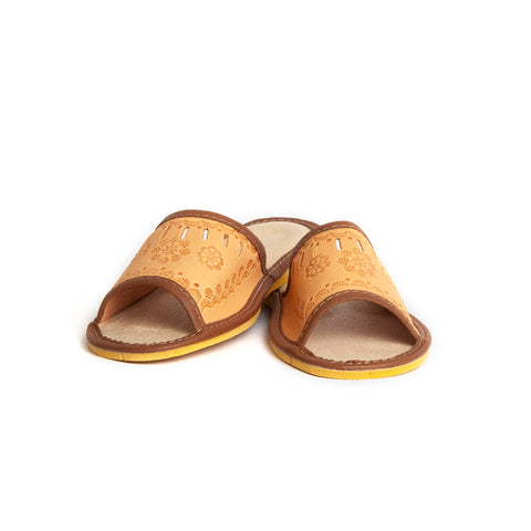 Brown Leather Folk Slippers | K-220