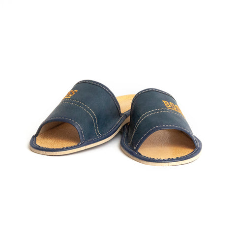 Dark Blue Open Toe Leather Slippers | K-229