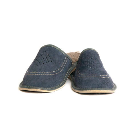 Dark Blue Insulated Leather Folk Slippers | K-222