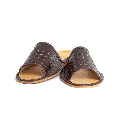 Dark Brown Open Toe Leather Slippers | K-228