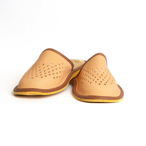 Light Brown Leather Folk Slippers | K-232