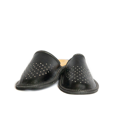 Black Leather Slippers | K-234