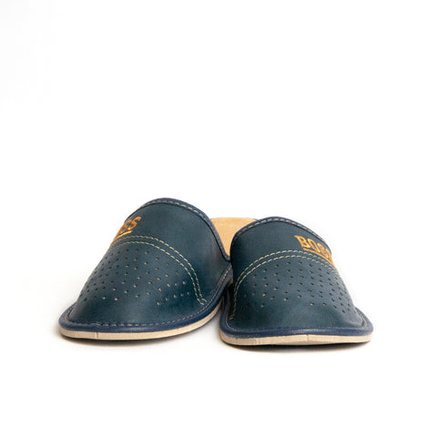 Dark Blue Leather Slippers | K-230