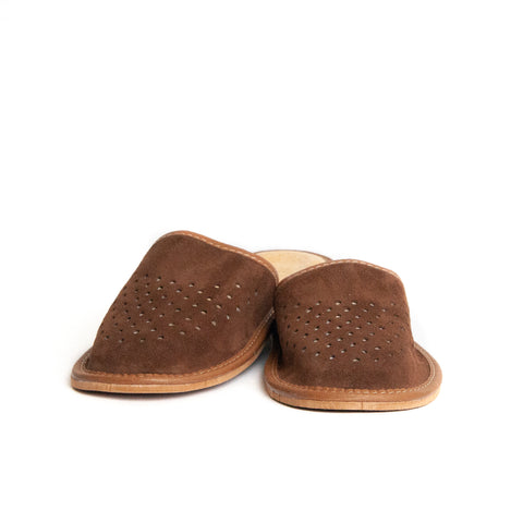 Dark Brown Leather Slippers | K-233