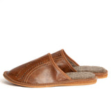 Dark Brown Insulated Leather Slippers | K-231