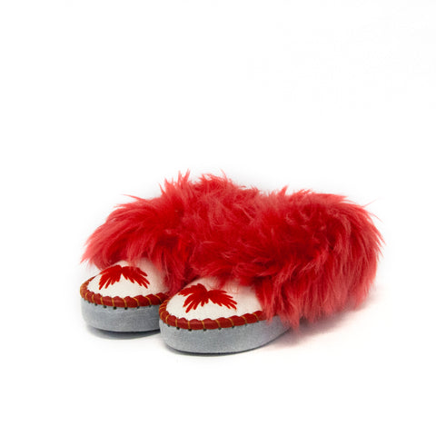 White Folk Slippers with Red Fluffy Cuff | K-244