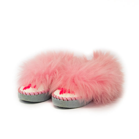 White Folk Slippers with Light Pink Fluffy Cuff | K-251