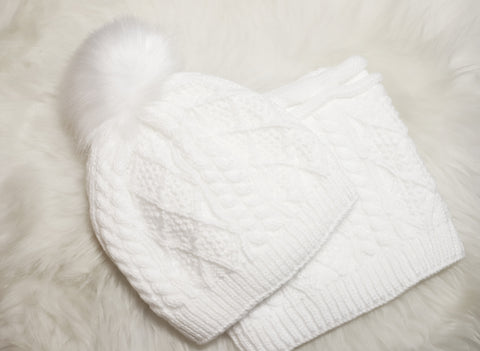 White Beanie with Neck Warmer Set  | W-52