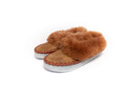 Brown Folk Slippers with Brown Fluffy Cuff | K-200
