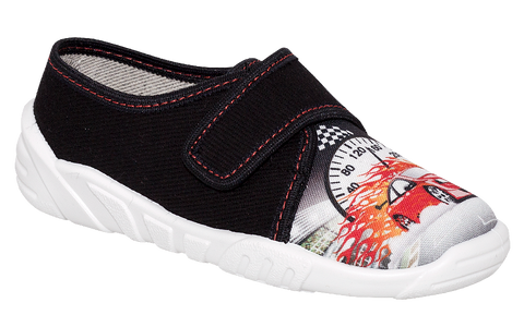 Black Graphic School Slippers | KRZYS-BL