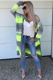 Neon Yellow and Gray Knitted Cardigan | STELLA