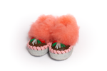 Brown Slippers with Pink Cuff 6-6.5 US | K-045