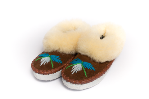 Brown Folk Slippers with Yellow Fluffy Cuff | K-018