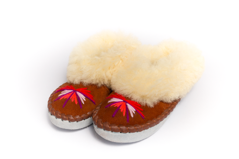 Rust Brown Folk Slippers with Yellow Fluffy Cuff | K-019