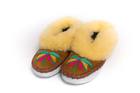 Brown Folk Slippers with Yellow Fluffy Cuff | K-021