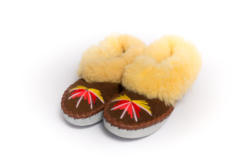 Brown Folk Slippers with Yellow Fluffy Cuff | K-024