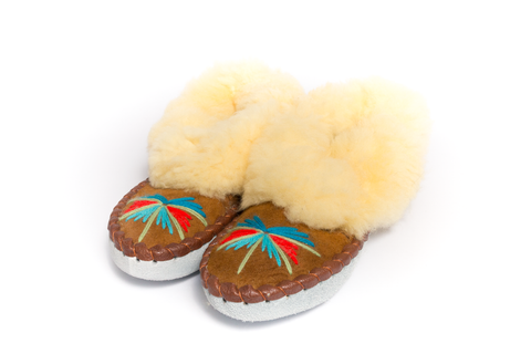 Light Brown Folk Slippers with Yellow Fluffy Cuff | K-027