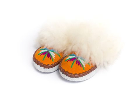 Pumpkin Folk Slippers with White Fluffy Cuff | K-028