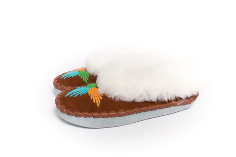 Brown Slippers with White Fluffy Cuff | K-031