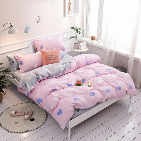 Pink and Gray Double-Sided Duvet Set | PME-306