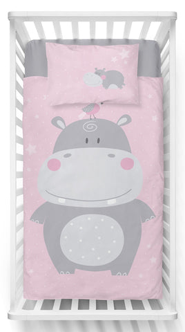 White and Pink Double-Sided Duvet Set | PPG-020