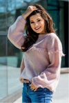 Dusty Pink Sweater with Fringes | ADEL