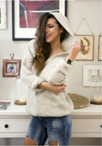 Beige Hooded Sweater | ANGELA